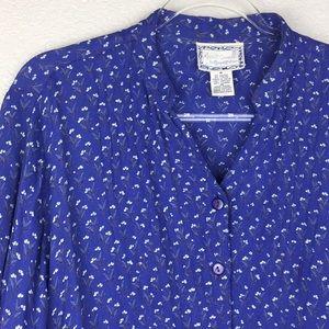 90's April Cornell Dress Micro Floral Periwinkle M